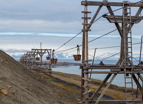 Historic construction for coal transport, Longyearbyen, Svalbard